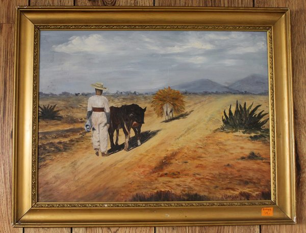 Burros to Market Wood Framed Oil Painting by Gregg