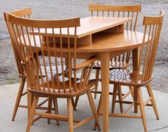 Round Maple Dining Table w/ 4 Spindle Back Chairs