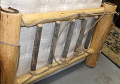 Queen Log Headboard w/ Rope Lasso and Horseshoe Accents