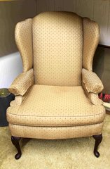 Smith Brothers Wing Back Chair with Queen Ann Legs