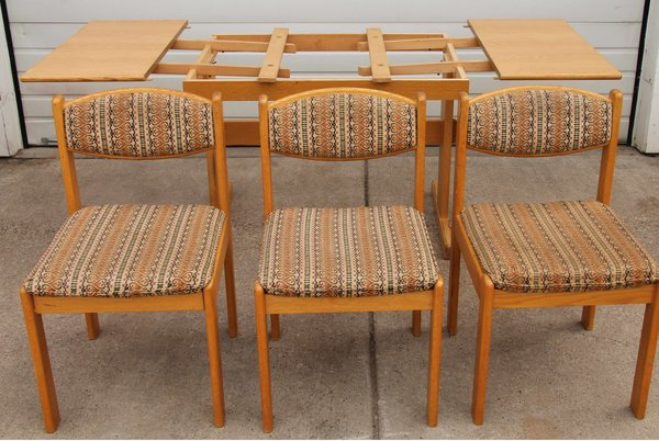70's Oak Pull Out Wood Table w/3 Chairs Dining Set