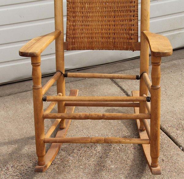 Antique Wicker Back Oak Rocker w/out seat