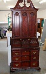 Antique Solid Wood Drop Front Secretary Desk w/ Hutch
