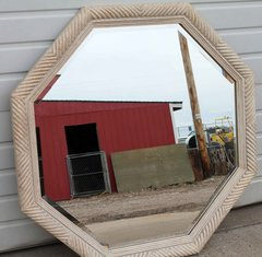 Octagon Off White Beveled Wall Mirror