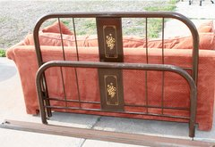 Antique Brown Metal Full Size Head & Footboard