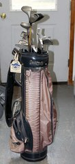 Brown Golf Bag and Clubs