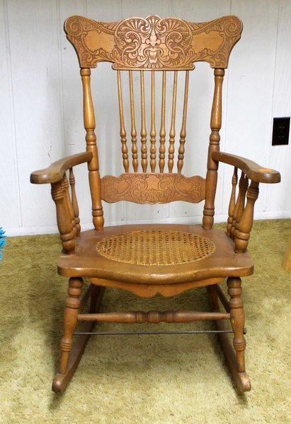 Antique Oak Spindle Rocker with Cane Seat