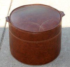 Brown Round Vinyl Foot Stool