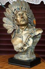 Native Statue w/ War Bonnet