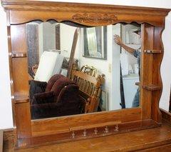 Wood Framed Mirror w/ Shelves