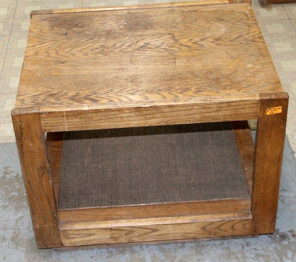 Oak w/ Wicker Level Table