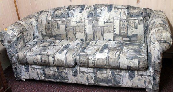 2 Cushion Sofa w/ Modern Green/Grey Pattern