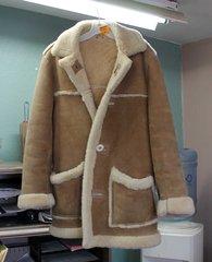 Long Sheepskin Coat w/ Antler Buttons