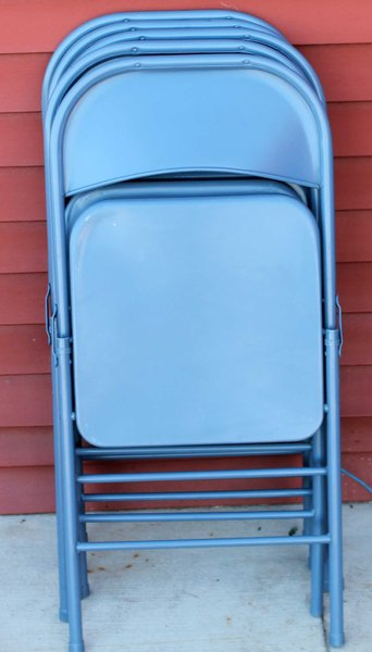 Set of 5 Metal Folding Chairs-Blue