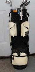 Black and White Golf Bag and Clubs