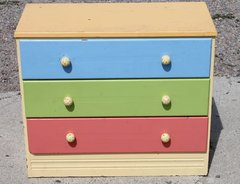 3 Drawer Painted Wood Chest of Drawers/Dresser.