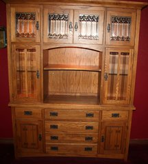 Oak Lighted China Hutch Cabinet