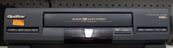 Quasar 4 Head VHS HiFi Stereo VCR + 181 Channel Cable Compatible