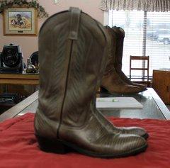 Mason Grey Leather Cowboy Boots--size 9C