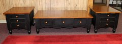 3 Drawer Solid Dark Wood & Stained Wood End Tables and Coffee Table Set