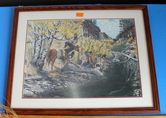 Natives and Horses Framed Print Signed by Marko Dogs 94