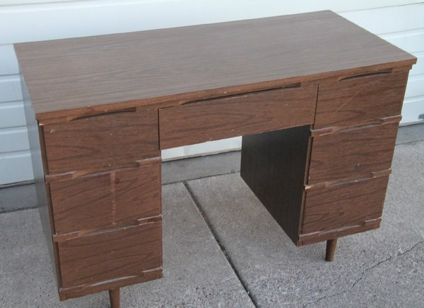 7 Drawer Desk - Wood with Formica Exterior