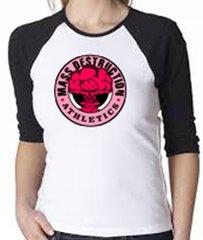 MDA Ladies Black Pink Mushroom Cloud Contrast T-Shirt (White/Black)