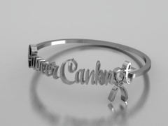 Cancer Canknot Font Bracelet - Silver