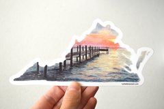 Virginia State Sunset Decal - Chincoteague Sticker