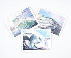 6 Pack Blank Watercolor Notecard Set - Ocean Wave Notecard Set