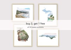 Bundle Pack of 4 State Art Prints