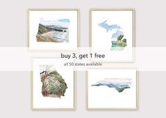 Bundle Pack of 4 State Art Prints