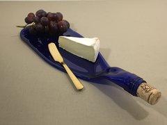 Cobalt Blue Recycled Wine Bottle Tray, Raised Neck