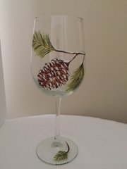 Snowy Pine Cone, Painted Wine Glass