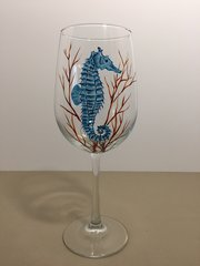 Seahorse, Painted Wine Glass
