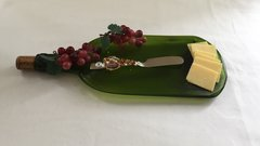 Recycled Wine Bottle, Serving Platter with Decorative Spreader, Wine Bottle Cheese Tray