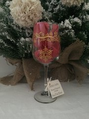 Christmas Glass, Swirls with Ornaments, Painted Wine Glass