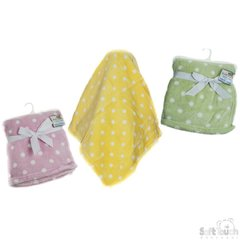 Soft Touch Polka Dot soft and cuddly wrap. Available in dusky pink, mint green and yellow