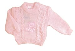 "Angel Kids Pink Baby Girl appliqued ""Teddy"" and cable Jumper. Available for ages 0-9 months"