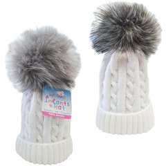 Soft Touch cable hat with pom pom. Choice of white, pink or blue. Available to fit age 0-12 months