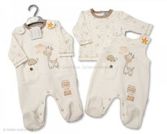 "Tiny Baby 2 piece set from the ""I am only small but want to be tall"" Giraffe range. Overalls and cotton top."