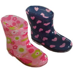Soft Touch baby girl rain/wellington boots. Choice of two colours Pink with flowers and Blue with hearts. To fit ages 15-24 months.