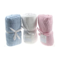 Soft Touch cellular cotton baby blanket. Pink Blue or White 70cm x 90cm