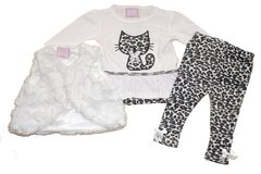 Chloe Louise three piece ivory outfit with animal print and kitten applique. Availble for baby girl age 03-24 months