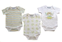 Bonjour Bebe Little Monkey triple pack of body suits. Available to fit sizes 0-3, 3-6 or 6-9 months