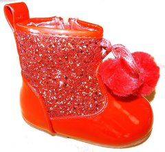 Tia London Hard Soled Baby Infant Boot with glitter design. Pink or Red, Silver or Gold