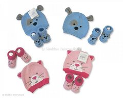 Nursery Time Hat and Booties set in Pink (kitty) or Blue (doggy)