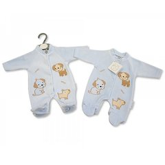 "Tiny Baby Boy Velour Blue All-in-One ""woof"" appliqued puppies. Available in two tiny tot sizes 3-5lbs and 5-8lbs."