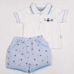 Watch Me Grow baby boy two piece Shorts and Polo shirt outfit. Nautical theme. Available to fit Age 0-9 months