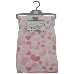 Pitter Patter Luxury Minky Soft Wrap -White with Pink Heart Design